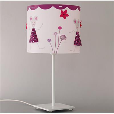 Lampe chambre fille - souris rose prune