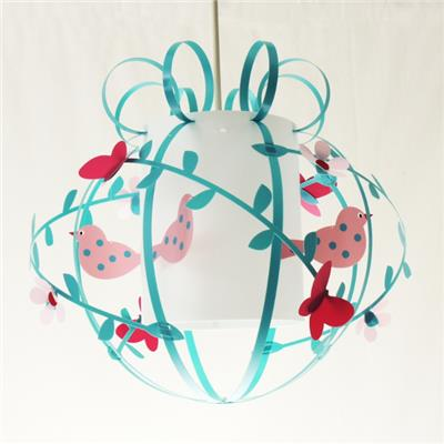 Suspension cage oiseau rose et bleue